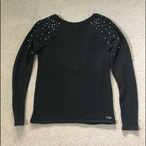PINK Black Bling Shoulder Sweater